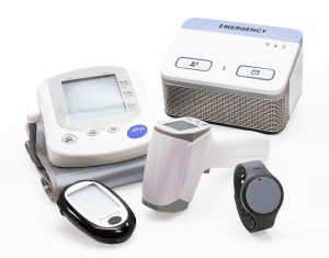 Pro Health Package with Add-On Devices. Glucometer, Thermometer, Wrist Pendent, Blood Pressure Cuff